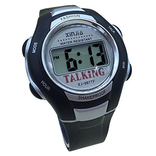 Sprechende Armbanduhr, digital, mit Alarm, Zeitangabe auf Französisch, für Blinden- und Sehbehinderte