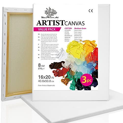 Wuxi Phoenix Marcos de lienzo de arte para pintar - 40x50 cm (16x20 pulgada) - Paquete de 3 lienzos en blanco preestirados para pinturas al óleo y acrílicas