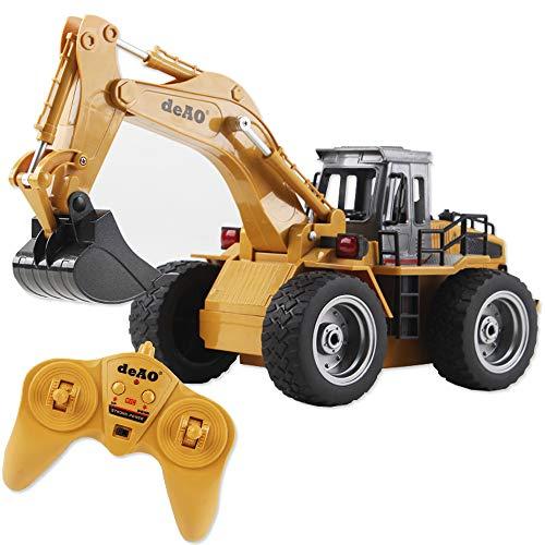 deAO Camión de Construcción RC Profesional Función Completa de 6 Canales Excavadora Teledirigida Todo Terreno con Pala de Metal 2.4GHz
