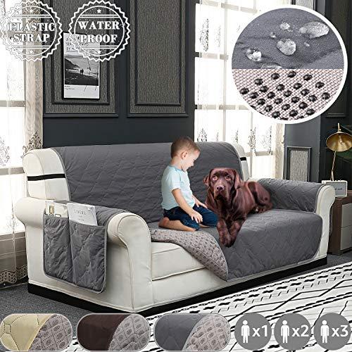 Fuloon Sofa überwürfe Wasserdicht, Couchbezug Elastische Spandex Sofahusse, Antirutsch Sofabezug für Hunde, Kinder, Haustiere, Katzen (Hellgrau, 3 Sitzer)