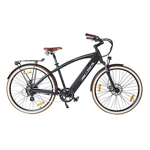 Fitifito CC28 Zoll Elektrofahrrad Citybike E-Bike Pedelec, 48V 250W Bafang Motor, 13Ah 624Wh Samsung Akku USB, 7 Gang Shimano Retro schwarz