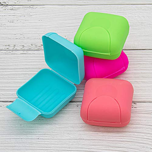 AUEAR, 4 Pack Small Travel Soap Dish Portable Mini Round Soap Case Box Container Holder 4 Candy Color for Bathroom Traveling Hiking and Other Outdoor Activities