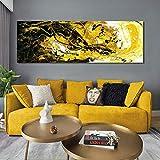YuanMinglu Arte Moderno Abstracto Negro y Amarillo Pintura al óleo Carteles y murales sobre Lienzo sin Marco 40x120cm
