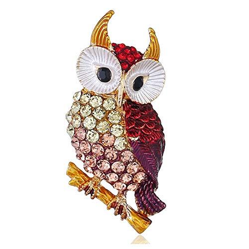 Preisvergleich Produktbild RedAlphabet Owl Diamant 3D Retro Persönlichkeit vorzügliche Legierung Tierbrosche Souvenirs Kragen Pin Einfacher Schmuck (Color : Yellow)