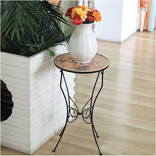 YINUO Style campagnard en fer forgé porte-fleurs décoration table étagère rack décoration salon porte-fleurs Noir Taille Hauteur 56cm