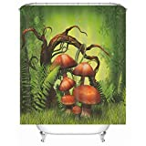 KnSam Cortina de ducha, diseño de setas de hierba de setas de poliéster, para colgar (128 x 19 cm)