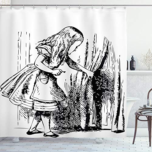 """Ambesonne Alice in Wonderland Shower Curtain, Black and White Alice Looking Through Curtains Hidden Door Adventure, Cloth Fabric Bathroom Decor Set with Hooks, 75"""" Long, Black White"""