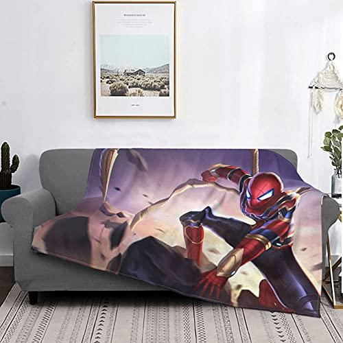 Spider-Man Avengers 4 Endgame Superhero Films Mantas de forro polar, manta antibolitas de franela para todas las estaciones para sofá de 127 x 101 cm