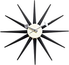 Shise George Nelson Sunburst Clock in Black, Decorative Modern Silent Wall Clock for Home, Kitchen,Living Room,Office etc. - Colorful Wooden Mid Century Retro Design(Full Range Available)
