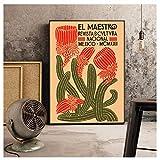 Arte de la Pared Pintura en Lienzo HD Imprimir Vintage Cactus Mexicano Planta Arte de la Pared Imagen para la decoración de la Sala Poster-60x80cmx1 sin Marco