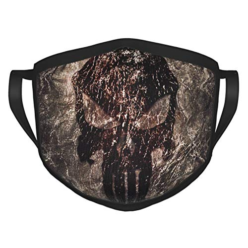Skull Logo Punisher Fabric Canvas Adults Reusable and Breathable Face Mask, Adjustable Mouth Covering, Indoors and Outdoors, Anti-Haze Dust, Washable Face Bandanas
