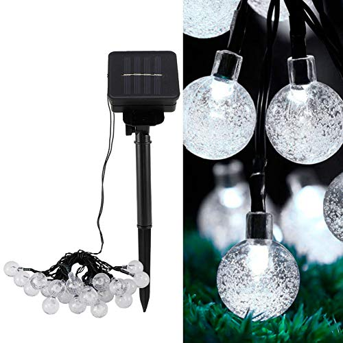 03 Globe Solar String Lights,IP65 20LED Chips Solar Power Light String Work More Than 8 Hours at Night Waterproof Patio Lights for Christmas Tree Festive Decoration(White)