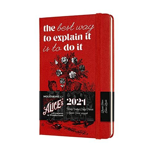 Moleskine 12 Monate Wochenkalender, Wochenplaner 2021, Alice im Wunderland limitierte Sonderausgabe, Thema Karten und Rote Rosen, Format Pocket 9 x 14 cm, 144 Seiten