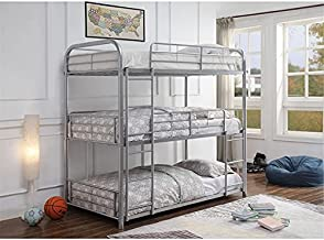 Triple Bunk Beds Twin-Over-Twin-Over-Twin, Metal Triple Bunk Beds Frame Made of Heavy Duty Steel for Kids ,Teens, Boys, Girls (Silver)