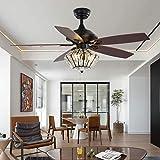 LuxureFan - Ventilador de techo de cristal vintage con 3 luces, 5 hojas, ventilador de techo con mando a distancia, 3 velocidades, 52 pulgadas, decoración rústica para hogar/restaurante
