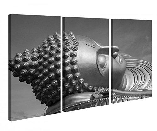Leinwandbild 3 Tlg Big Buddha Schlaf Thailand Statue Schwarz weiß Leinwand Bild Bilder Holz fertig gerahmt 9P1075, 3 tlg BxH:120x80cm (3Stk 40x 80cm)