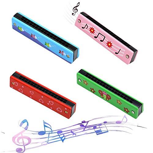 Armonica a Bocca Bambini Armonica a Bocca Professionale Diatonica Armonica Diatonica Armonica in do Maggiore Blues Arpa Tremolo 16 Fori C Key Armoniche Doppio Tremolo Blues Harp (4 pezzi)