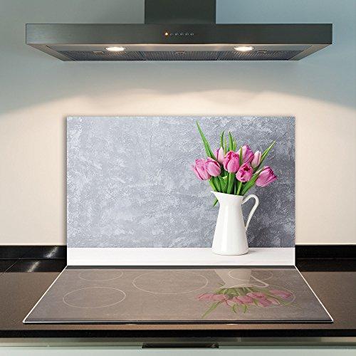 DAMU Ceranfeldabdeckung 1 Teilig 80x52 cm Herdabdeckplatten aus Glas Blumen Pink Elektroherd Induktion Herdschutz Spritzschutz Glasplatte Schneidebrett