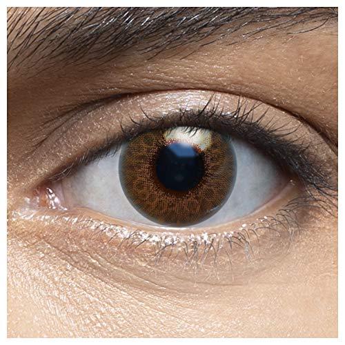 Sehr stark deckende und natürliche blaue Kontaktlinsen farbig CORAL BROWN + Behälter von LENSART - 1 Paar (2 Stück) - DIA 14.00 - ohne Stärke 0.00 Dioptrien