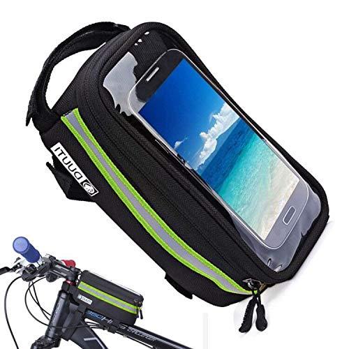 自転車トップチューブバッグ 大容量 タッチパネル操作 フレームバッグ 自転車バッグ 取り付け簡単 梅雨対策 防圧 防塵 防水 軽便 旅行/スポーツ/アウトドア/遠足などに適用 緑 夜間安全自転車トップチュー