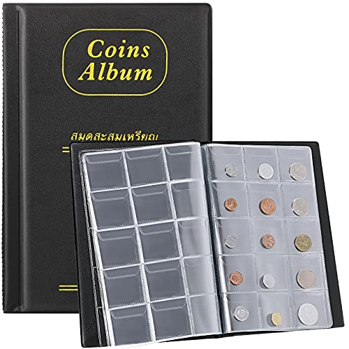 150 Pockets Coin Collection Holder Album 1.77 x 1.77 Inches Penny Collecting Book, Coin Albums for Hobby Coin Collectors, Specie Display Storage Case Coin Collection Book Supplies