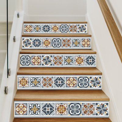 Sticker Escaliers - BLUETILES- Lot de 4 Stickers (1m x 17 cm)
