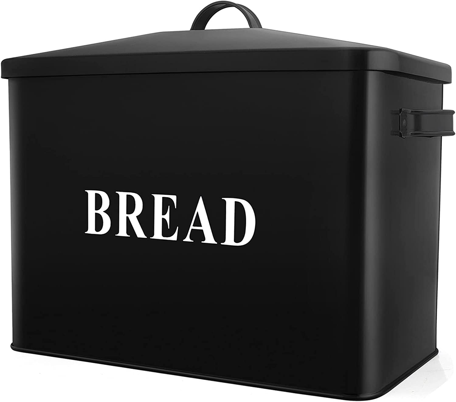 Extra Large Black Bread Box with Easy-to-use OFFicial store Metal PP CHEF Lid Stora