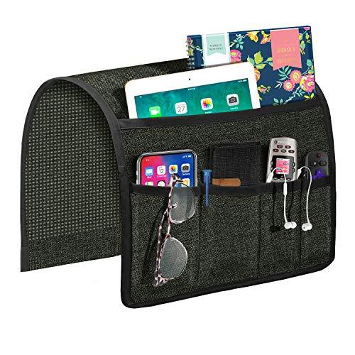 Joywell Organizador de apoyabrazos para sofá, soporte de mando a distancia para sillón reclinable, con 5 bolsillos para revista, tableta, teléfono, iPad, gris oscuro