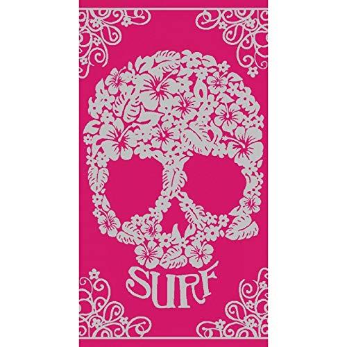 Toalla de playa calavera y texto Surf, 90 X 170 cm, color rosa ALGODON EGIPCIO 413 D