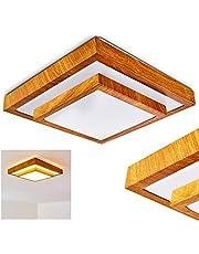 LED plafondlamp Sora, vierkante metalen plafondlamp in moderne houtlook, 18 Watt, 1380 Lumen, lichtkleur 3000 Kelvin (warm wit), IP 44, ook geschikt voor de badkamer