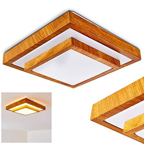 LED Deckenleuchte Sora, eckige Deckenlampe aus Metall in moderner Holz-Optik, 18 Watt, 1380 Lumen, Lichtfarbe 3000 Kelvin (warmweiß), IP 44, auch für das Badezimmer geeignet