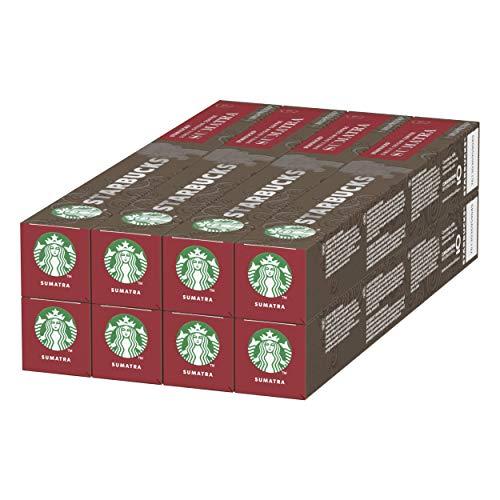 Starbucks Single-Origin Sumatra de NESPRESSO Cápsulas de café de tostado intenso, 8 x tubo de 10