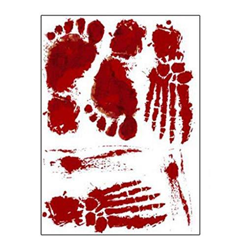 catyrre 3D Sticker, Horror Scary Red Blood Footprint Fingerabdruck Wandaufkleber für Halloween Dekor Maskierung Party Supplies