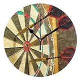 Reloj de Pared Redondo Decorativo con Textura de Tablero de Dardos para niños, Sala de Estar, Dormitorio, Cocina, Escuela, Oficina, decoración