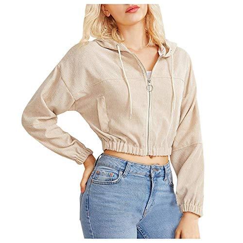 Hoodie Sweatshirt Frauen Zip-Up Pocket Crop Kapuze Cord Casual Solid Sweatshirt Cropped Jacke Hoodies Streetwear Pullover-Beige_S