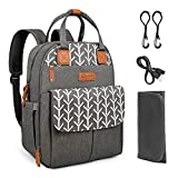 Kkomforme Baby Wickelrucksack Wickeltasche mit Wickelunterlage, Multifunktional Große Kapazität Babytasche Reiserucksack für Unterwegs (Graublume)
