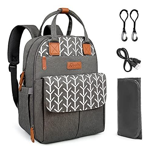 Kkomforme Mochila para pañales de bebé con cambiador, multifunción, gran capacidad, mochila de viaje para viajes