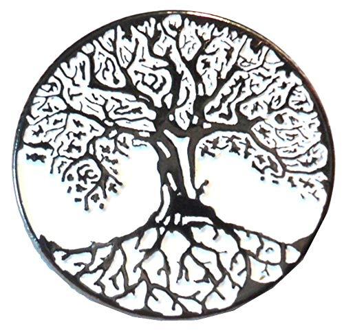 Pin de metal esmaltado con diseño de árbol de la vida (broche de 22 mm) celta wiccan ocultista pagana buena suerte, pentagrama runa