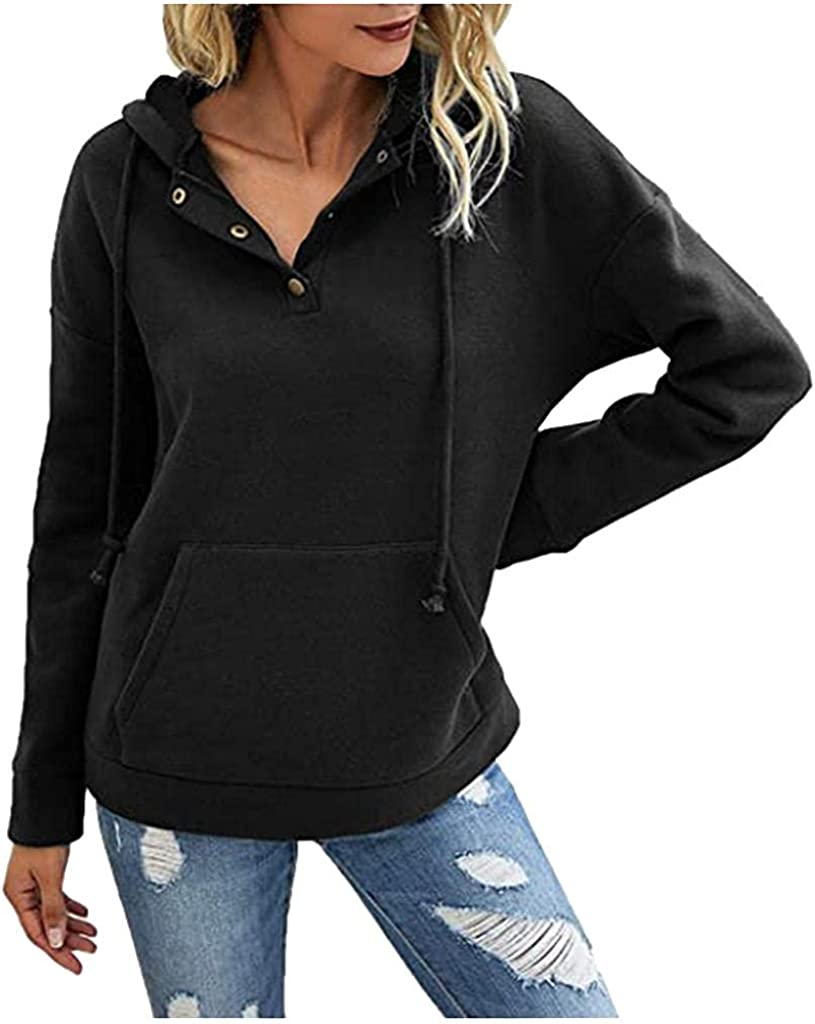 Jaqqra Hoodies for Women Pullover Long Sleeve Solid with Pocket Hooded Sweatshirts Teen Girls Loose Pullover Tops Shirts