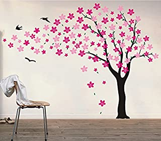 """Pop Decors """"Black/Hot Pink Go Left Drifting Flowers and Birds"""" Beautiful Wall Stickers for Kids Rooms"""