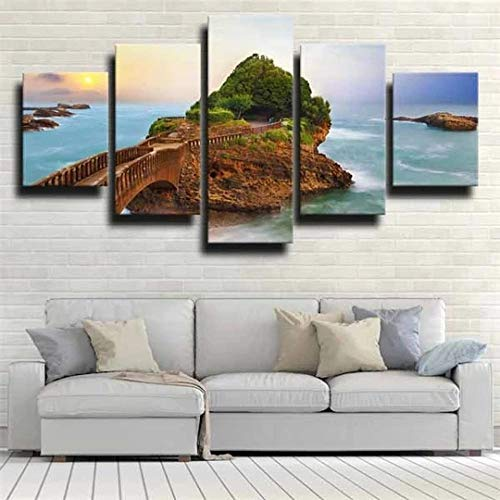 QWASD Rock Big Beach Atardecer 5 Piezas Cuadros Lienzo Decoracion Salon Modernos De Pared Papel Pintado Murales Pintura Póster Fotos Regalo