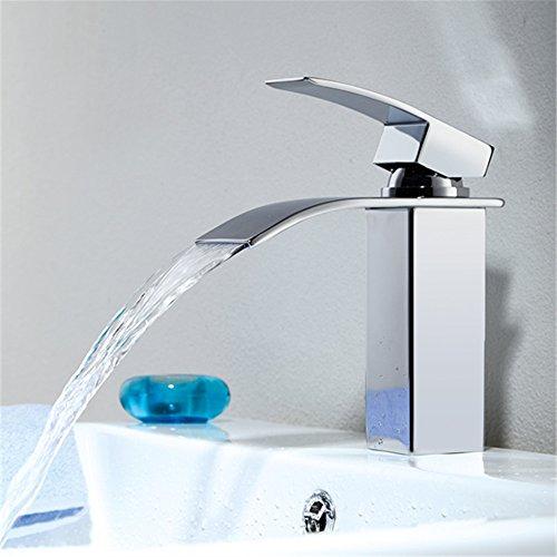 Homelody – Einhebel-Waschtischarmatur, ohne Ablaufgarnitur, Wasserfallarmatur breite Form, Chrom - 3