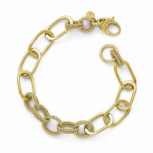 Pulsera de oro amarillo de 14 quilates con cierre de langosta pulido y corte brillante, regalo de joyería para mujer – 20 centímetros