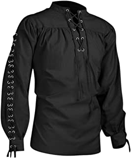Men Medieval Tops Gothic Steampunk Renaissance Tops Victorian Stand Collar Lace up Shirts Blouses