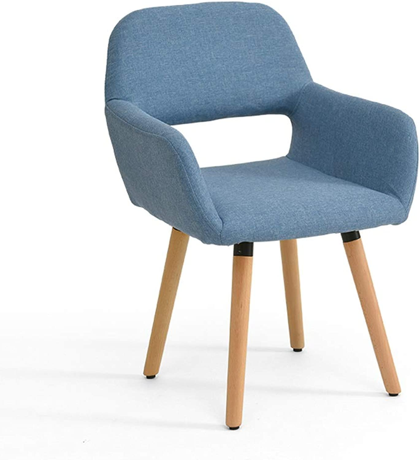 ZZ Chair Cotton and Linen Solid Wood Chair, Open Back Armchair, Home Dining Chair Desk Chair, Three colors Optional (color   Lake bluee)