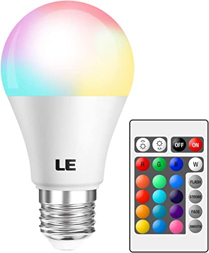 LE RGB Color Changing Light Bulbs with Remote, Dimmable 40 Watt Equivalent Warm White, A19 E26 Screw Base for Home De...