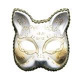 SOOY Máscara de mascarada para mujer /hombre Máscara de carnaval de fiesta musical a cuadros veneciano vintage (Blanco)