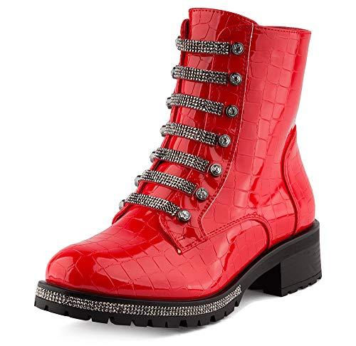 Fusskleidung Damen Stiefeletten Schlupf Stiefel Biker Boots Worker Combat Strass Schuhe Rot Lack EU 36