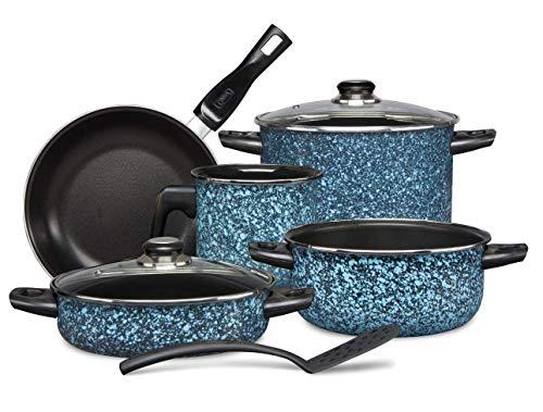 Bateria De Cocina Línea Granito 8 Piezas Color Azul Cins