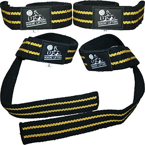 Bandes de levage ((2 paires/4 bandes) pour l'haltérophilie, le crossfit, l'entraînement, la gym, la dynamophilie, le bodybuilding, mieux que la craie et le cuir, pour homme et femme. Accessoires et équipement de première qualité. Utilisez ds gants, des crochets, des bandes de poignet, des bandes pour éviter les blessures lorsque vous soulevez des poids., noir/jaune, Taille unique